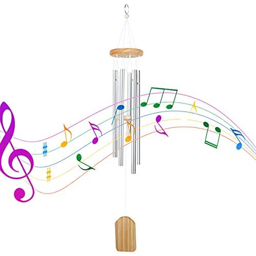 Campañas de Viento de Tubo de Metal, Campanas de Viento de Madera 6 Tubos de Aleación de Aluminio, Carrillón para Jardín Musical, Campanas de Viento para Arbol Casa de Madera Decoracion Casa-65CM