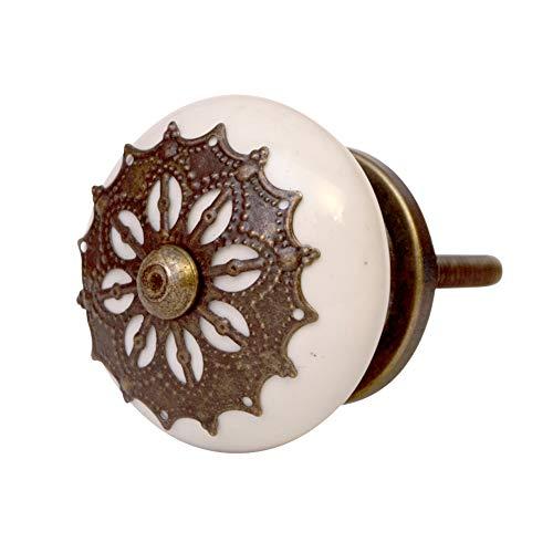 Knober Möbelknöpfe Edel Keramik Weiß Porzellan 40mm Landhausstil Shabby-Chic Schrankknopf Türgriff (Antik AD21)