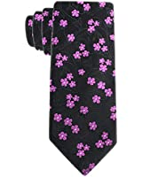 Black and Pink Floral Mens Necktie - Jacquard Woven Cherry Blossom Floral Tie - Flower Neck Tie