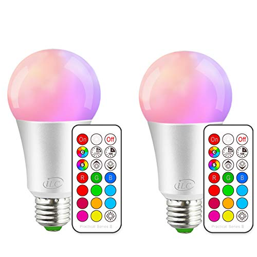 iLC Bombillas Colores RGBW LED Bombilla Regulable Cambio de Color 10W E27 Edison - RGB 12 Color - Control remoto Incluido (Pack de 2)