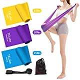 TKLake 3 Pack Exercise Resistance Bands Set with 3 Resistance Levels-1.5M/1.8M/2M Exercise Bands