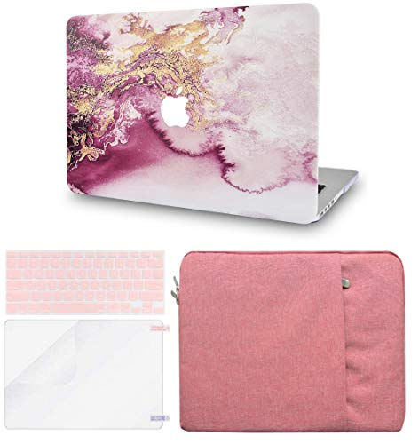 LuvCase 4 in 1 LaptopCase forMacBookPro 15 Touch Bar (2019/2018/2017/2016) A1990/A1707 HardShellCover, Sleeve, Keyboard Cover & Screen Protector (Red Gold Marble)