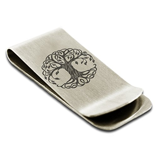 Tioneer Stainless Steel Celtic Knot Tree of Life Symbol Money Clip Credit Card Holder