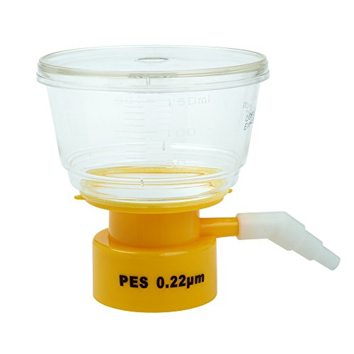 Celltreat 229715 Bottle Top Filter, Sterile, Graduated, PES Filter Material, 0.22µm Pore size, 50mm Diameter, 150mL Volume (Case of 24)
