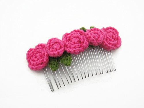 Hair Comb Slides Clip Girl Accessories Crochet Flower Roses Hot Pink