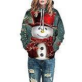 2021 Men Women Ugly Winter Christmas Sweater, Funny 22D Print Kangaroo Pocket Sweatshirt Hoodies Pullover for Xmas