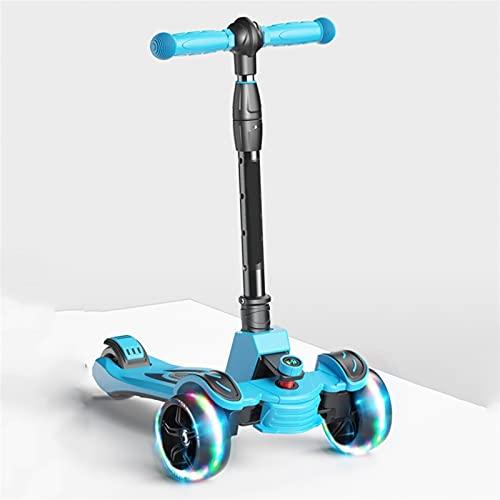 WANGYIYI Scooters para niños Patinete Plegable Patinetes portátiles de Altura Ajustable Scooter estables Triangulares con Pedal Antideslizante con Rueda de PU Intermitente (Color : Blue)