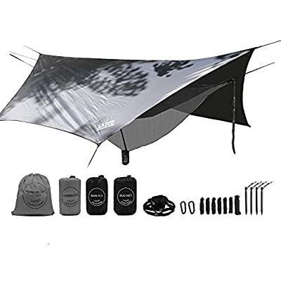 LAZZO Camping Hammock Set All-Inclusive,Double Hammock,Bug Net,Tarp,Suspension,Guyline,Stakes and Backpack,Perfect for Backpacking,Camping,Hiking & Yard (Gray, 10)
