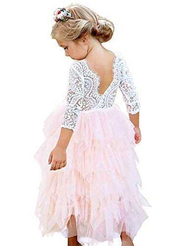NNJXD Girl Lace Back Tutu Tulle Flower Girls Princess Party Dress Size (130) 7-8 Years Peach