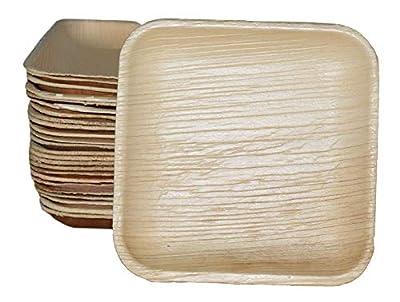 "Magnet7 6"" Palm Leaf Plates (Natural, 6 inch, Square, Set of 25 Pcs) | Environment Friendly Biodegradable Compostable Disposable 15cm Party Plate"