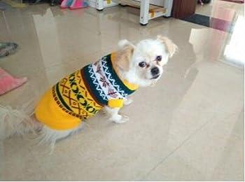 Tineer Manteau de Tricot de Flocon de Neige de Chien d'animal familier, Chiot Chat Pull-Overs Sweater Jacket Hiver Noël vêtements Chauds (M, Jaune)