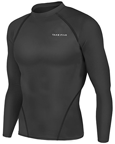 New Men Sports Apparel Long Sleeves Shirts Skin Tights Compression Base Under Layer Top (S, NT001 Black)