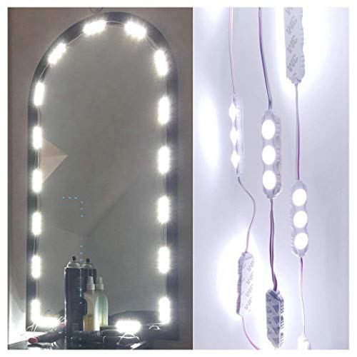 60 LEDs 9.8 FT Makeup Vanity Mirror Light DIY Light Kits for Cosmetic Makeup Vanity Mirror with Power Supply and ON//Off Switch