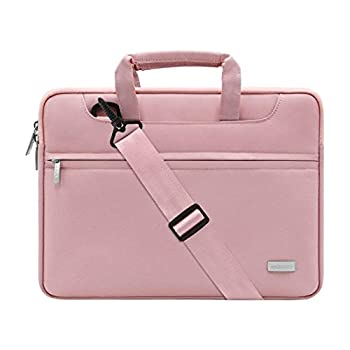 MOSISO Laptop Shoulder Bag Compatible with MacBook Pro/Air 13 inch 13-13.3 inch Notebook Computer Polyester Sleeve with Back Trolley Belt Pink
