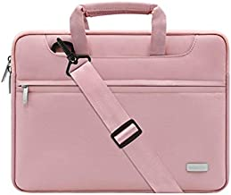 MOSISO Laptop Shoulder Bag Compatible with MacBook Pro/Air 13 inch, 13-13.3 inch Notebook Computer, Polyester Sleeve with Back Trolley Belt, Pink