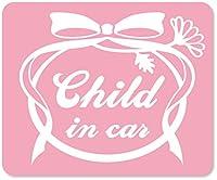 imoninn CHILD in car ステッカー 【マグネットタイプ】 No.29 お花リボン (ピンク色)