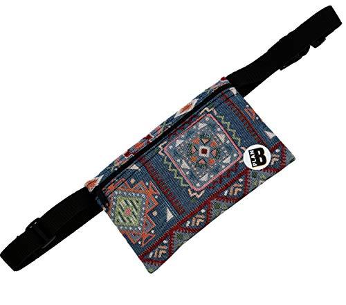 Plan B Riñonera Mini Tierra Azul 16,5 X 10 X 1 cm Cinturón Ajustable 70 100 cm Multicolor Hecho en España