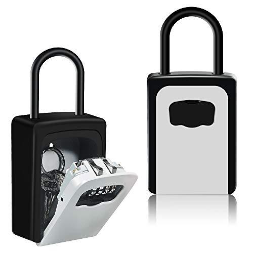 HUSAN Schlüsseltresor mit Schäkel, zur Wandmontage, Schlüsselsafe für Außen & Innen für Zuhause, Garage, Schule, Ersatzschlüssel (Grau)