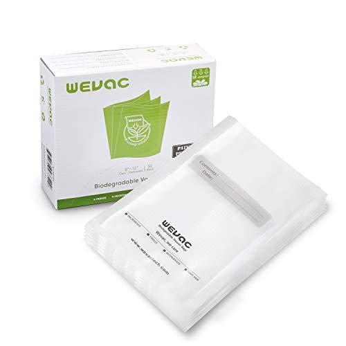 Wevac Biologisch abbaubare Vakuumbeutel, 50 Stück, 20 x 30 cm für alle Balken Vakuumierer wie Food Saver, Caso....