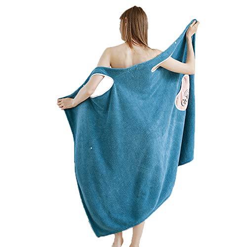 Womens Plush Bathrobe with Strap Thick for Winter Velvet Ruffle Off Shoulder Beach Spa Wrap Shower Bath Body Towel Quick Dry (BlueL)