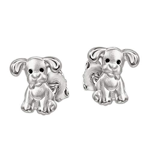 CLEVER SCHMUCK Silberne sehr kleine Kinder Ohrstecker Mini Hunde 6 x 5 mm mit schwarzen Augen Sterling Silber 925