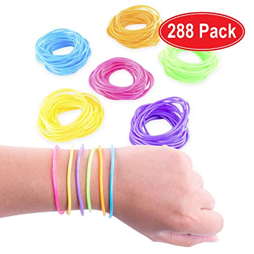 288 pk of Neon Gel / Jelly Bracelts Multi-Colored. Ideal for 80s Look