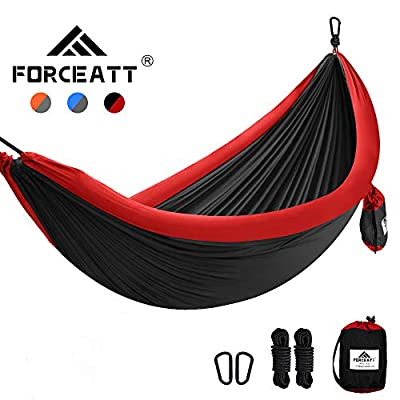 Forceatt 1-2 People Outdoor Camping Hammock, Light and Easy to Carry, 210T high-Fiber Nylon Parachute Fabric, Maximum Load of 200 KG, Suitable for Camping, Hiking, Travel, Beach and Lunch Breaks