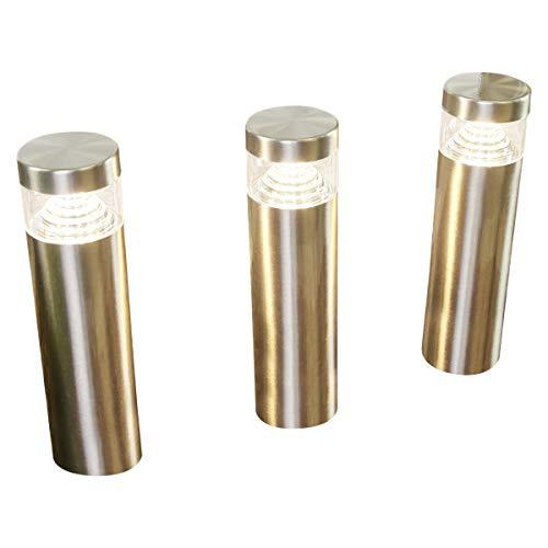 Lampenwelt LED Erdspießleuchte 'Agathe' (spritzwassergeschützt) (Modern) in Alu aus Edelstahl (3 flammig, A+, inkl. Leuchtmittel) - Außenleuchte