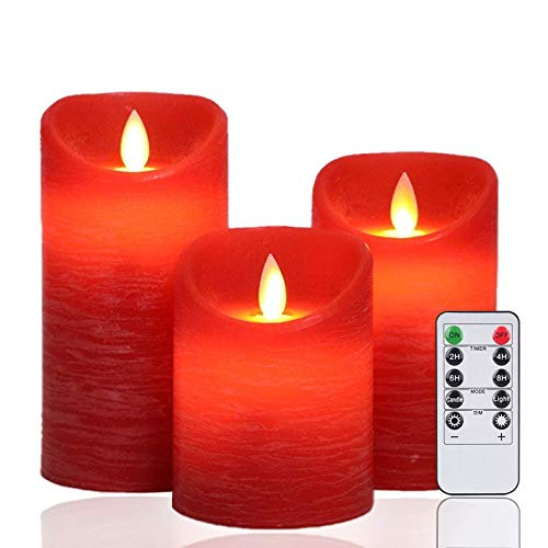 AnnTec LEDキャンドルライト ロウソク レッド 本物の炎のようにゆらめく3点セット 暖色光 火を使わない ゆらゆら揺れる 安全 省エネ 専用リモコン付き 明るさ調整 電池式 LEDライトキャンドル