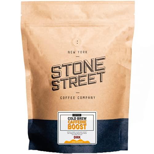 Stone Street Cold Brew Coffee, High Caffeine 'Boost Blend', Coarse Ground Coffee, Dark Roast, 1 LB