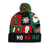 YUHUALI 2019 Nuovi Modelli di Batteria Rimovibili di Natale Cappello colorato in Maglia Lucida Santa LED luci Cappello di Natale Verde