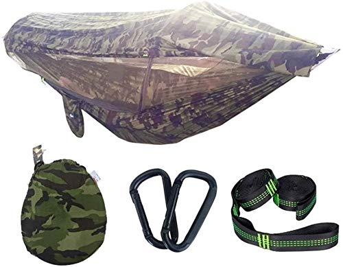 KSHU Double Camping Hammock,Foldable camping hammock with mosquito net pop-up light Portable double parachute hammocks 300 kg load capacity 290 * 145 cm 2X premium carabiners 4X nylon slings included