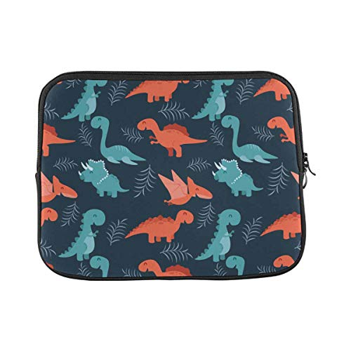 Cute Seamless Colorful Dinosaurs Laptop Sleeve Case 14 Inch Briefcase Cover Protective Notebook Laptop Bag