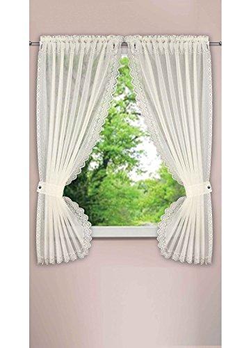 Homemaison Vorhang Plumetis, Polyester, Elfenbeinfarben, 160 x 90 cm