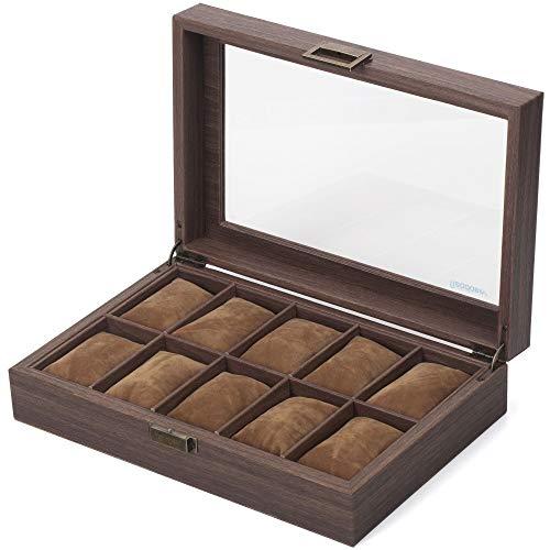 Readaeer Ecrin pour 10 montres/présentoir/boîte/rangement pour montres en PU et verre motif bois
