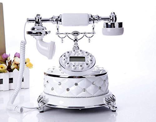 SXRDZ Teléfono Retro de la Vendimia, teléfono Fijo con Cable de Estilo Antiguo con dial de botón para el hogar y la decoración de Oficina, Blanco