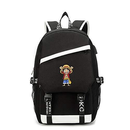 Mochila One Piece de Anime, Mochila Escolar con Puerto USB, Adolescentes Estudiantes Mochilas para Ordenador portátil de Viaje