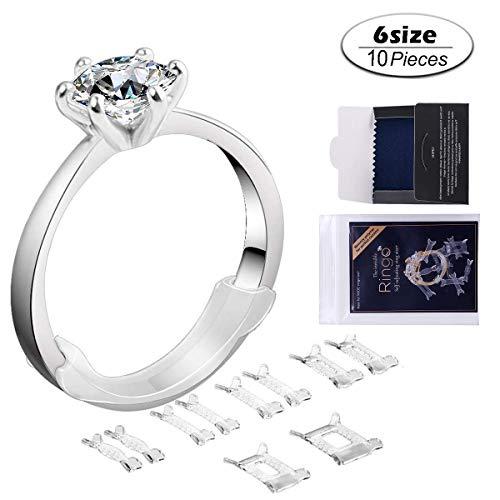Velidy - 10 regolatori ad anello per anelli allentati, con panno lucidante, per anelli di qualsiasi dimensione, riduttore-distanziatore