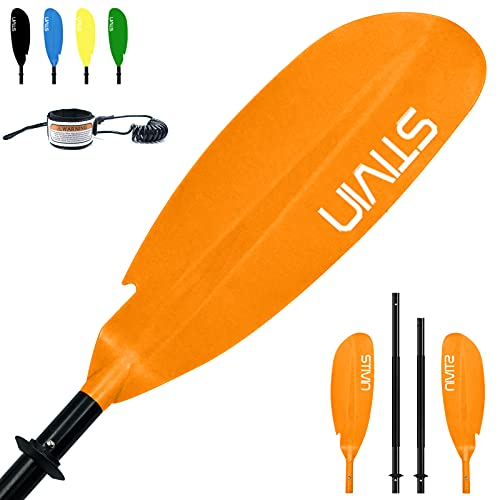 STIVIN 4 Piece Kayak Paddle with Leash 91.7inch 233cm Aluminum Alloy Shaft PP Blade Non-Slip Hand Grip Adjustable Angle Drip Rings Floating Oars Paddles for Kayaking Fishing Canoeing Touring(Orange)