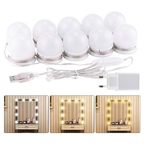 Digyssal 10 Hollywood Licht-Set LED dimmbar Lampe für Spiegel Kosmetik Badezimmer 3 Farben 10 Helligkeitsstufen mit Adapter (Spiegel nicht enthalten)