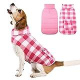 Kuoser British Style Plaid Dog Winter Coat, Windproof Cozy Cold Weather Dog Coat Dog Apparel Dog Jacket Dog Vest for Small Medium and Large Dogs with Pocket & Leash Hook Pink XS