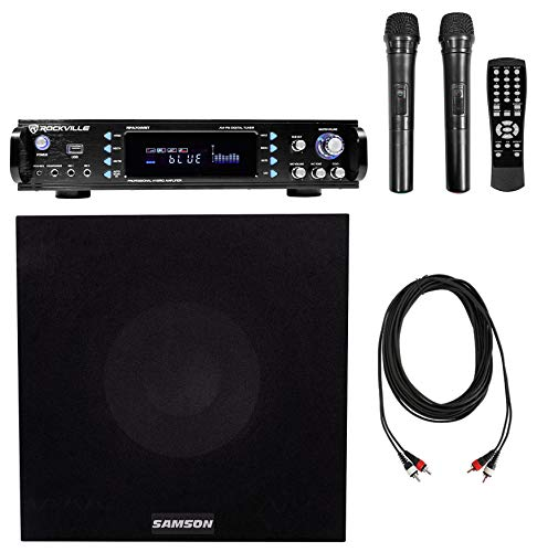 Buy Discount Rockville RPA70WBT 1000w 2-Ch Karaoke Bluetooth Amplifier Mixer+10 Sub+(2) Mics