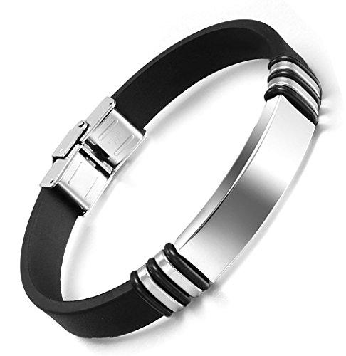 Herren Edelstahl ID Tags Silikon Armband einstellbar Wasserdicht Armreif Schwarz - Adisaer