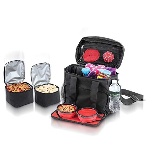 Dog Weekend Travel Bag as Dog Luggage for Camping Gear Accessories for All Size Dogs - Pet Travel Bag Includes Two Collapsible Dog Travel Bowls and Two Dog Food Travel Container Making Traveling Easy