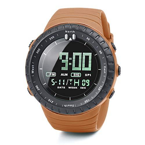 Zimuuuy_Reloj Deportivo Electrónico Reloj Moda Multifunción Hombre Impermeable LED Digital Reloj de Pulsera Cuarzo Reloj, Gel en guijarros, Naranja, Talla única