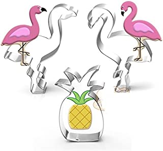 Astra Gourmet 3 Piece Tropical Cookie Cutter Set Flamingo and Pineapple ¨C Stainless Steel