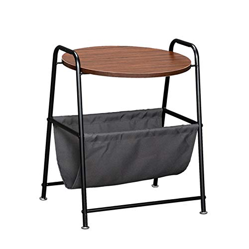 YISHENG-P Wood Color Two-Layer Trapezoidal Belt Oxford PVC Waterproof Cloth Book Bag Wrought Iron Side Table P