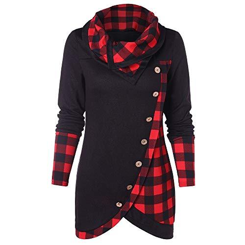 Femme Sweatshirt Col Haut Capuche Veste Chic Hiver Treillis Imprimé Plaid, Manteau Pullover Blouson Tops Mode Pull Femme Pas Cher A La Mode (Rouge, M)
