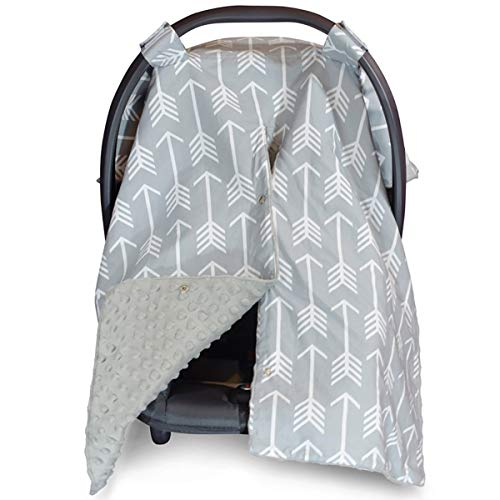 Car Seat Canopy and Nursing Cover Up with Peekaboo Opening  Arrow Grey