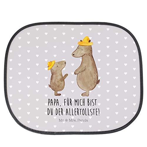 Mr. & Mrs. Panda Auto, Geschenk, Auto Sonnenschutz Bären mit Hut mit Spruch - Farbe Grau Pastell